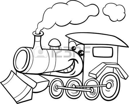 450x363 Black And White Cartoon Illustration Of Steam Engine Locomotive