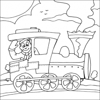 338x338 Free Print Out Coloring Pages Steam Train Old For Kids. Free