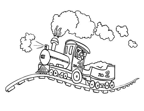 600x464 Steam Locomotive On Bumpy Railroad Coloring Page Color Luna