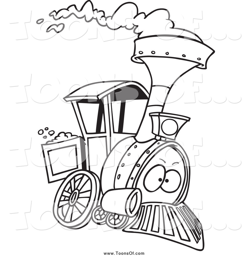 1024x1044 Clipart Of A Black And White Steam Engine Train By Toonaday