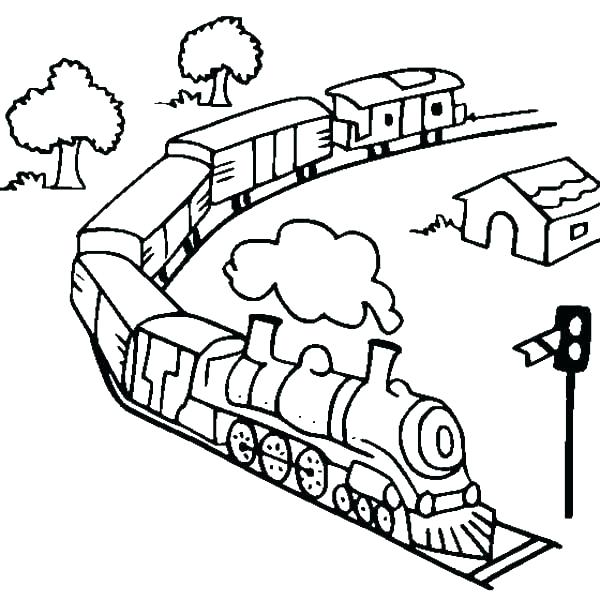 600x600 Train Coloring Pages