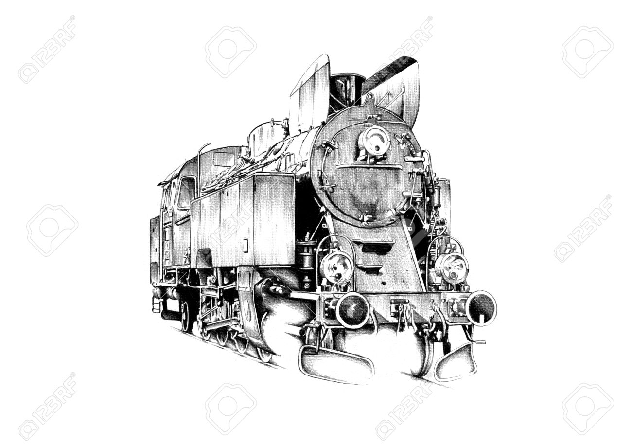 1300x919 Old Steam Locomotive Engine Retro Vintage Drawing Stock Photo