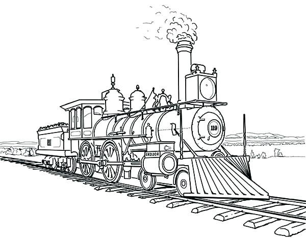 600x467 Train Engine Coloring Page Railroad Steam Engine Train On Railroad