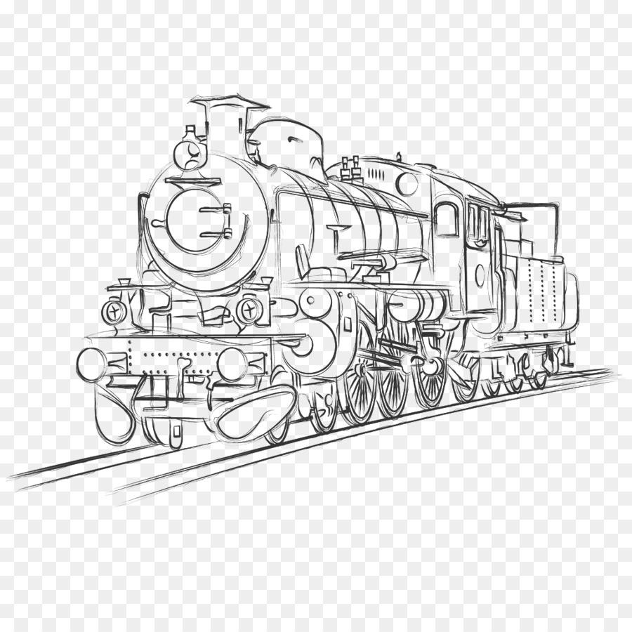 900x900 Train Rail Transport Steam Locomotive Sketch
