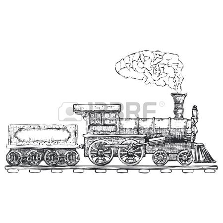450x450 Vintage Steam Locomotive Vector Logo Design Template. Train