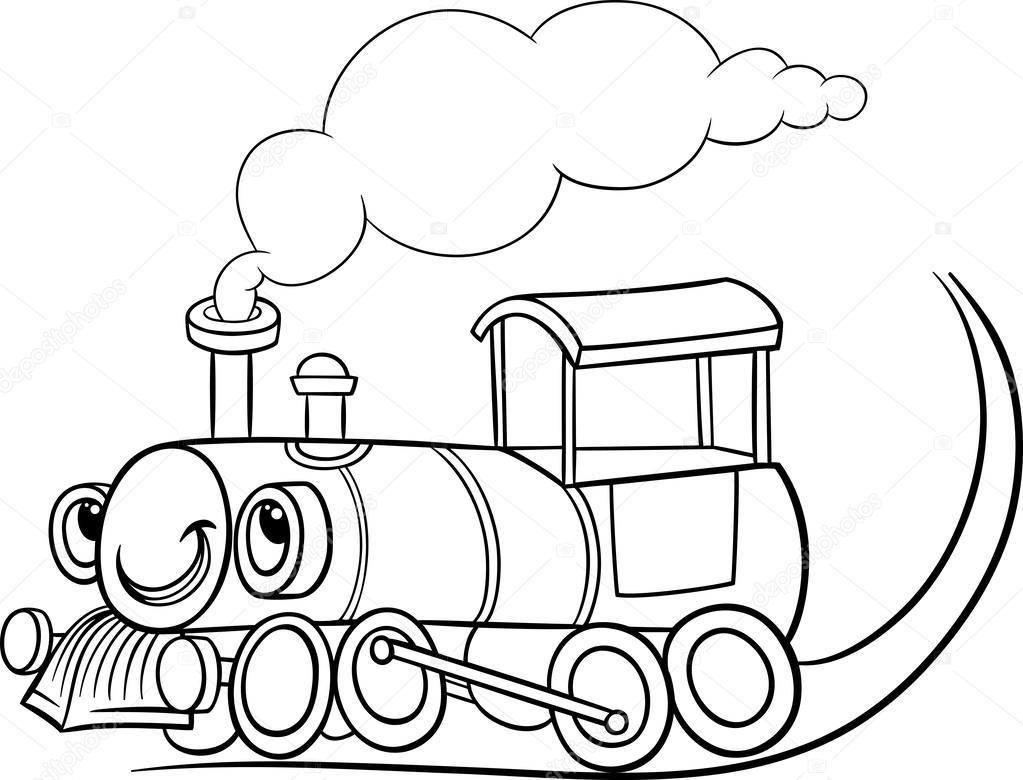 1023x780 Cartoon Locomotive Or Engine Coloring Page Stock Vector