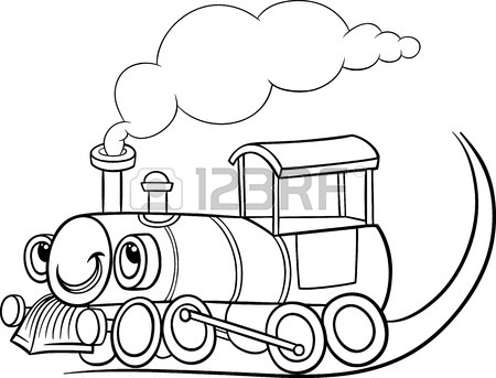 450x343 Black And White Cartoon Illustration Of Funny Steam Engine