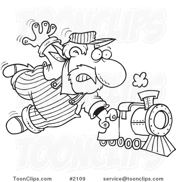 581x600 Cartoon Black And White Line Drawing Of A Locomotive Engineer