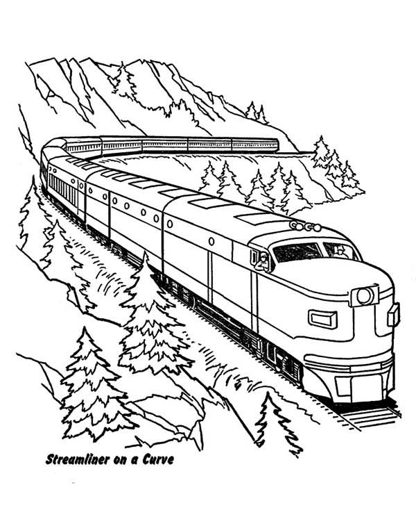 600x734 Streamliner Train On A Curve Coloring Page Color Luna Trains