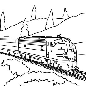 300x300 Drawing Of Steam Train Locomotive Coloring Page Color Luna