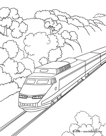 364x470 High Speed Rail Travelling In A Mountain Landscape Coloring Pages