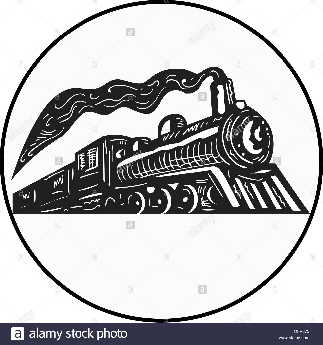 1300x1390 Illustration Of A Steam Train Locomotive Coming Up Viewed From Low