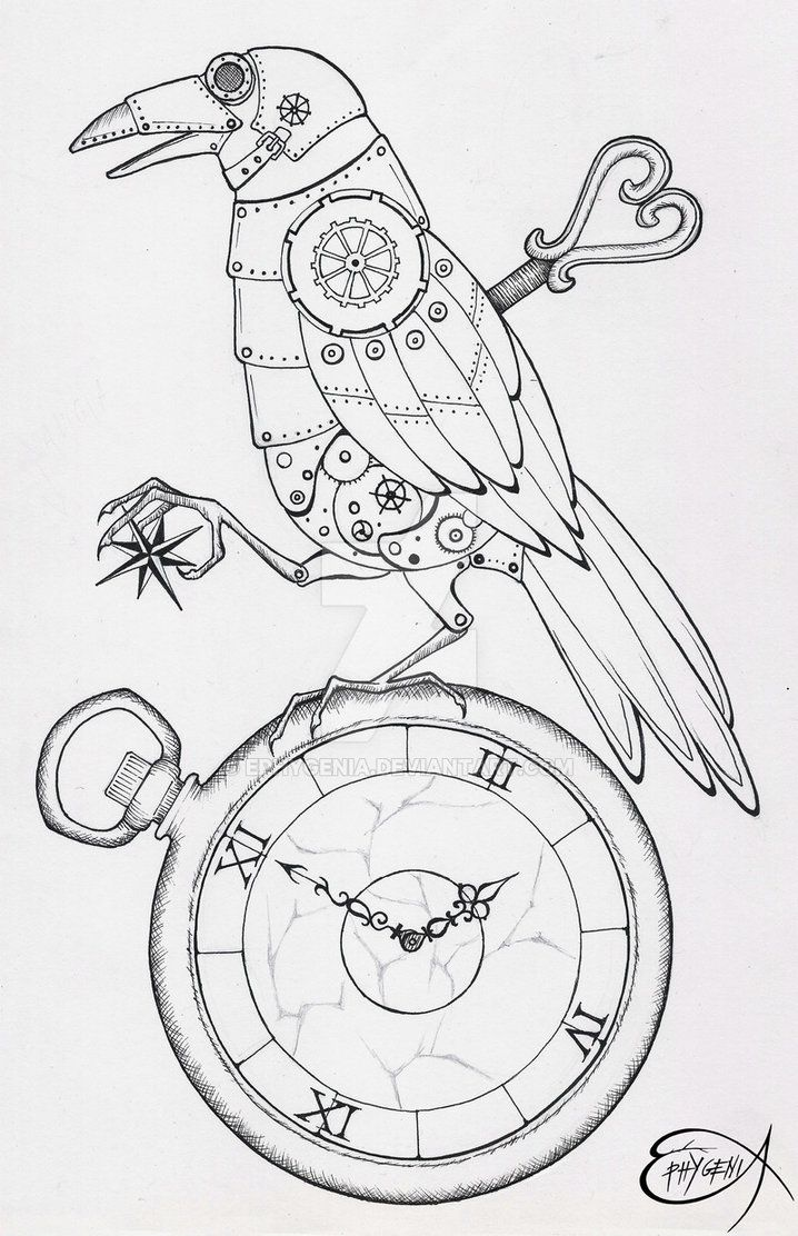 718x1112 Steampunk Coloring Page. Steampunk Clockwork Raven Wip By