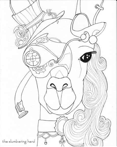 461x576 Steampunk Llama Pen And Ink Drawing In Progress The Slumbering