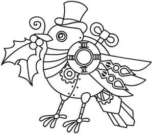 300x263 Steampunk Momma Yuletide Steampunk Coloring Pages