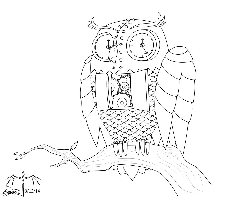 1000x800 Steampunk Owl Tattoo Design By Dizzidragonz