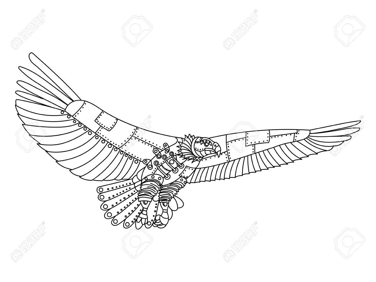 1300x975 Steampunk Style Eagle. Mechanical Bird Animal. Coloring Book