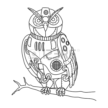 450x450 Steampunk Style Owl Coloring Book Vector Royalty Free Cliparts