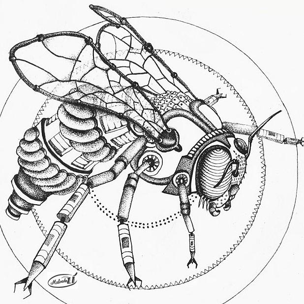 618x618 Steampunk Bee By Malvadali