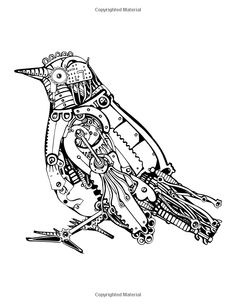 236x305 Steampunk Style Lizard. Mechanical Animal. Coloring Book For Adult