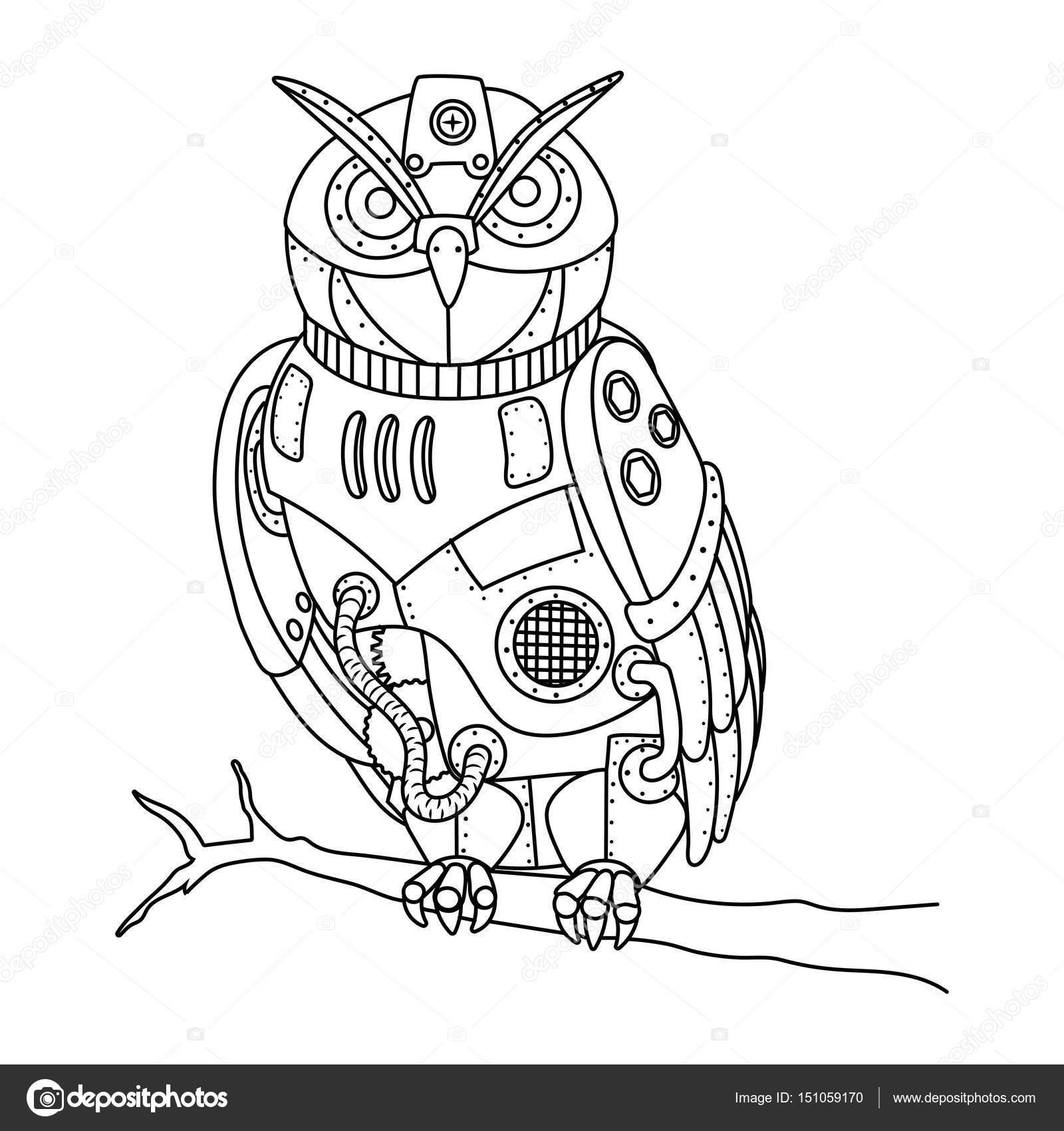 1600x1700 Steampunk Style Owl Coloring Book Vector Stock Vector