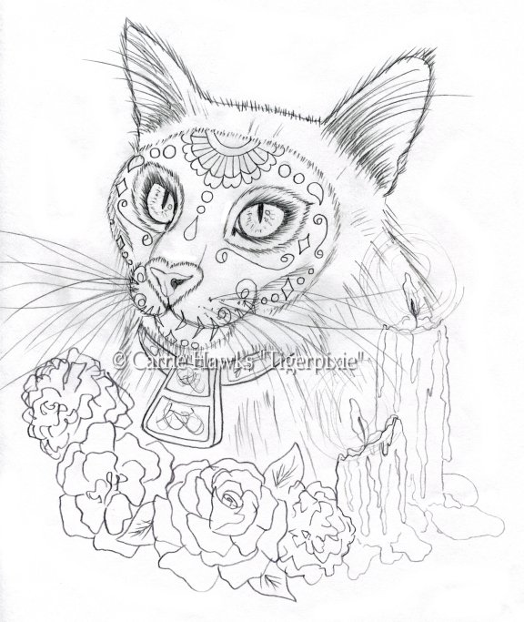 576x683 Cat Art Journal By Carrie Tigerpixie Hawks Wip New Day