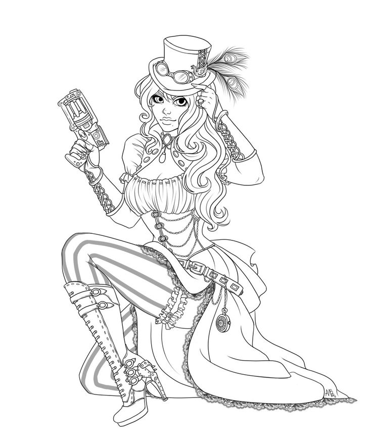 736x883 Coloring Pages Dazzling Coloring Pages Draw A Girl Steampunk