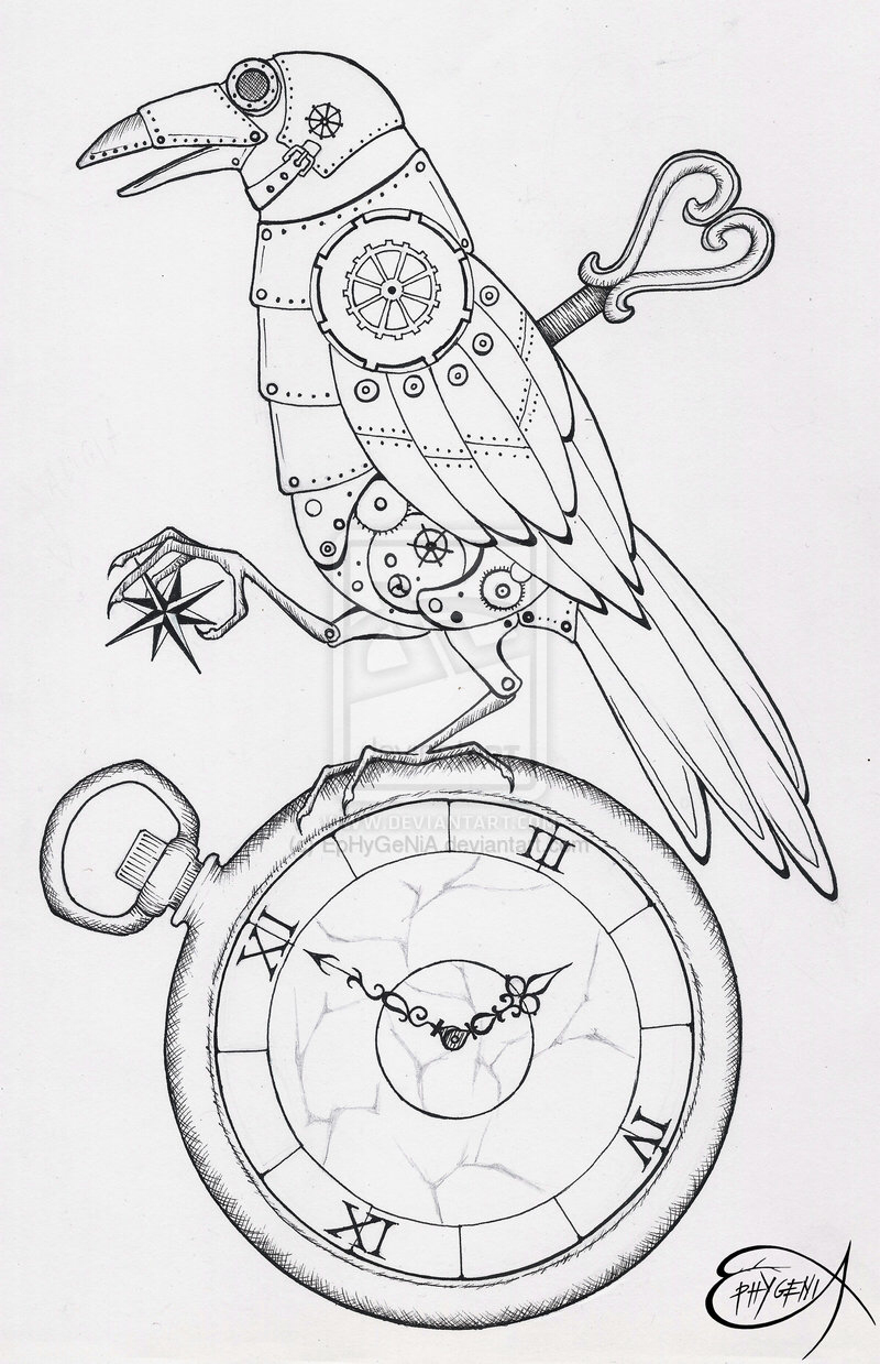 800x1239 Steampunk Bird Project 1 Steampunk Bird, Doodles