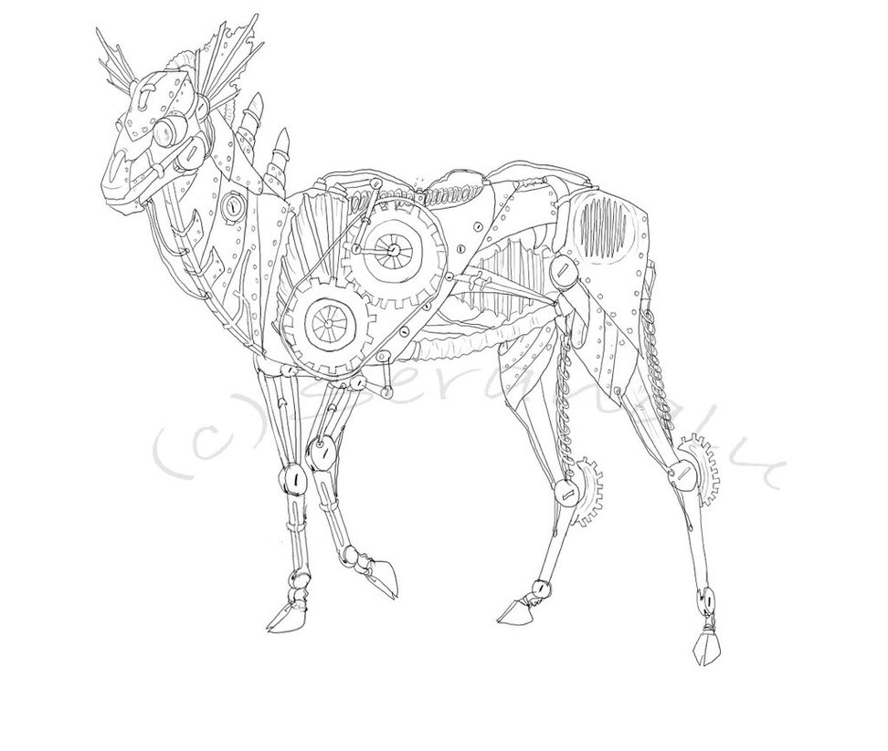 972x823 Steampunk Deer By Seranalu