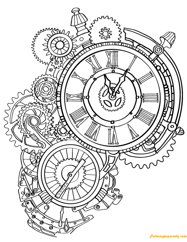 600x776 Steampunk Wall Clock Coloring Page