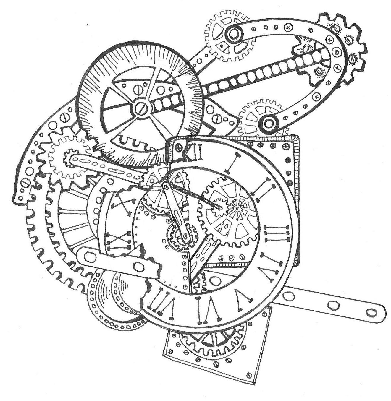 1322x1357 Zentangle Steampunk Clock Drawn By Sherry Long November 2014
