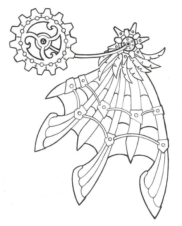 773x960 Steampunk Clock Drawing
