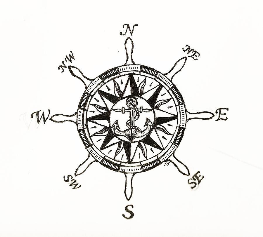 900x812 Ship Wheel Compass Drawing By Shane Silva