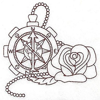385x384 Steampunk Compass And Rose Single Color Production Ready Artwork