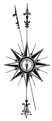 205x480 Watercolor Steampunk Clipart Compass Rose