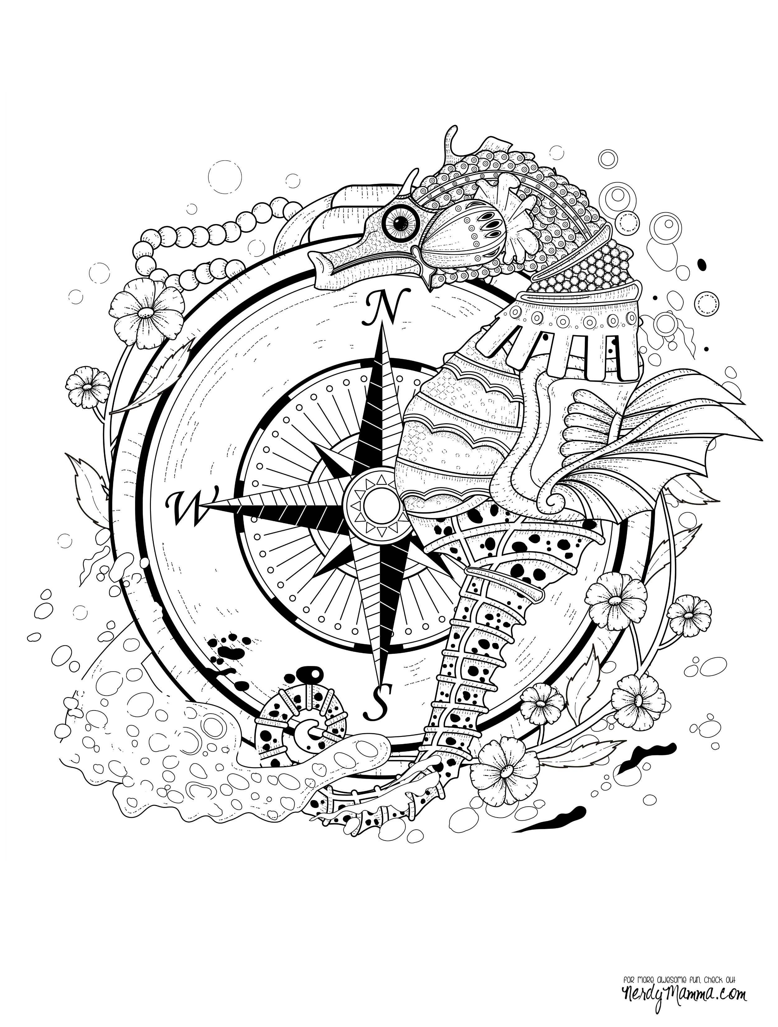 2500x3300 Steampunk Seahorse Coloring Pages Colouring Adult Detailed