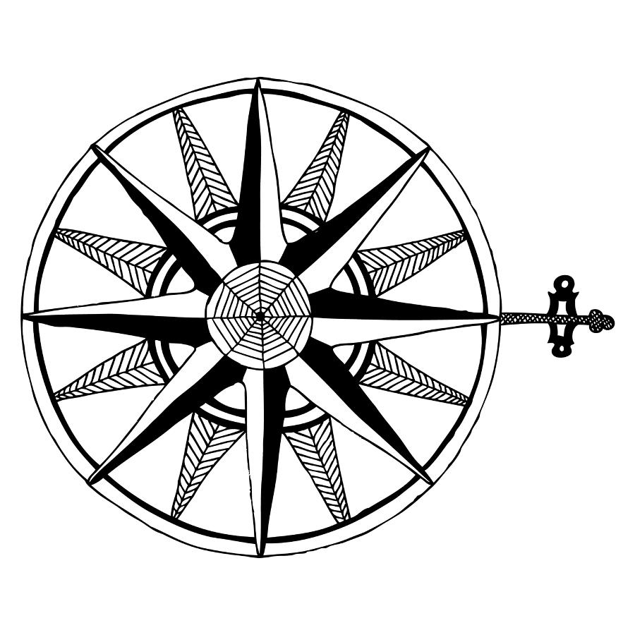 900x900 Compass Drawing By Karl Addison
