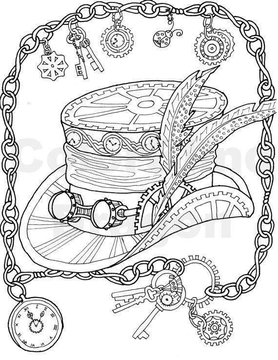 570x738 Steampunk Coloring Page, Top Hat, Coloring Page, Mechanical