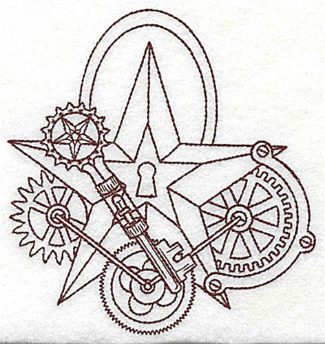 472x500 Steampunk Star Lock Embroidery Design Annthegran