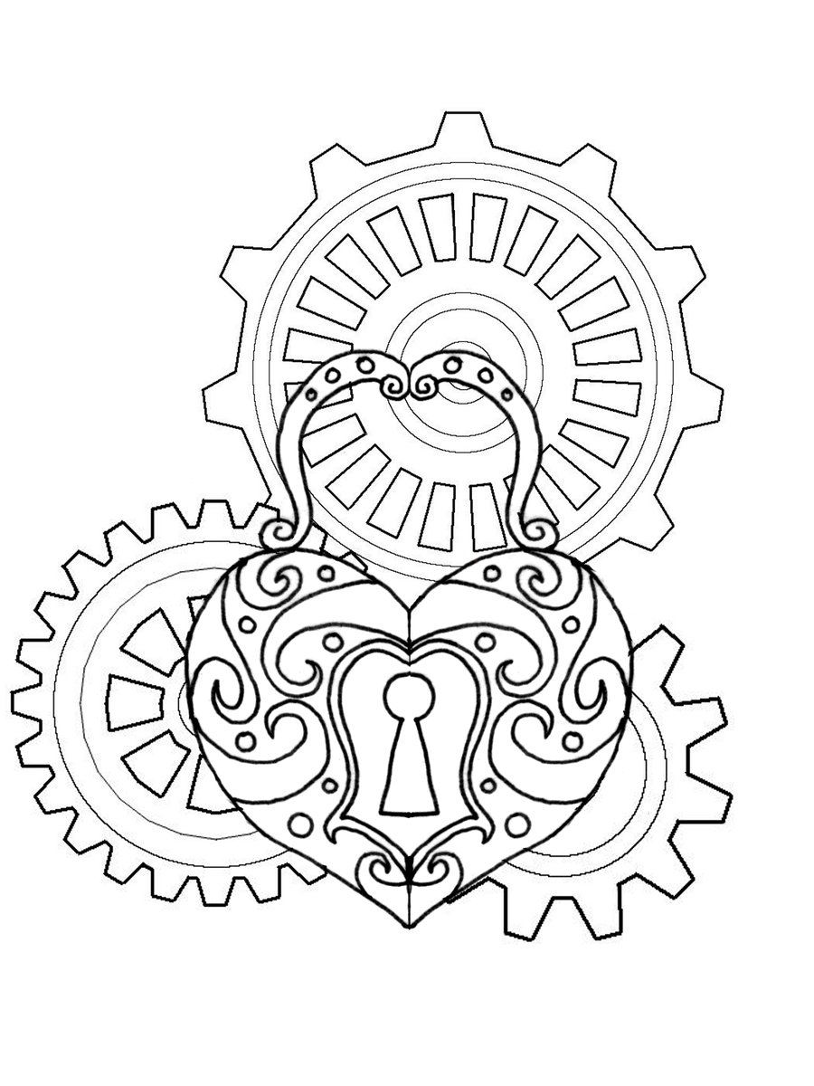900x1200 12 Images Of Steampunk Gears Coloring Pages