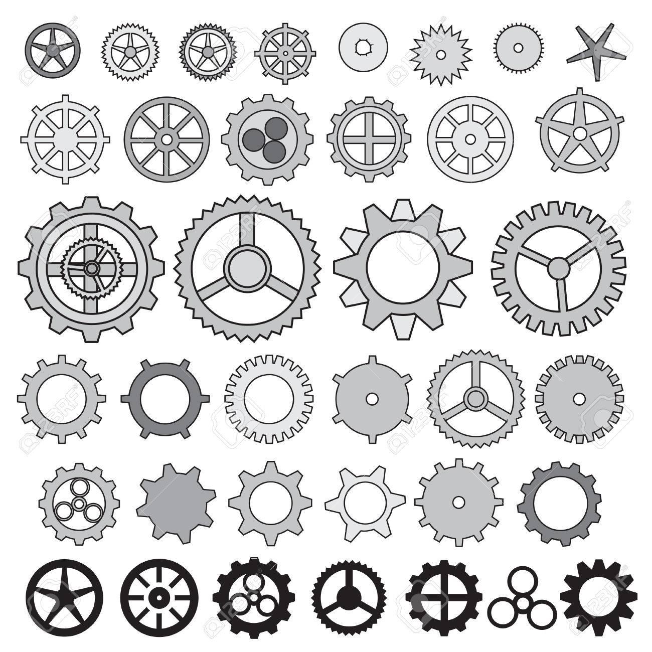 1300x1300 Steampunk Gear Collection Machine Gear, Wheel Cogwheel Vector