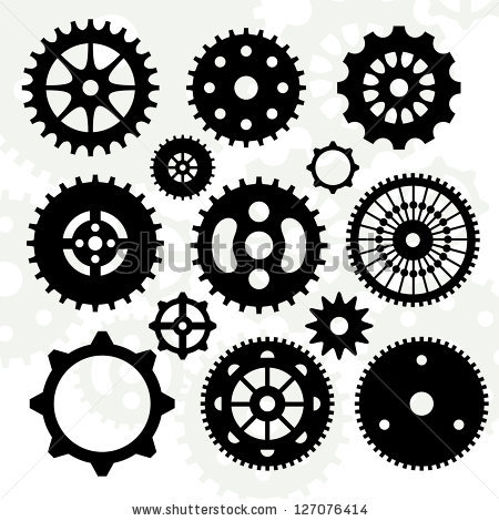 450x470 Set Of Gears Vector Silhouettes