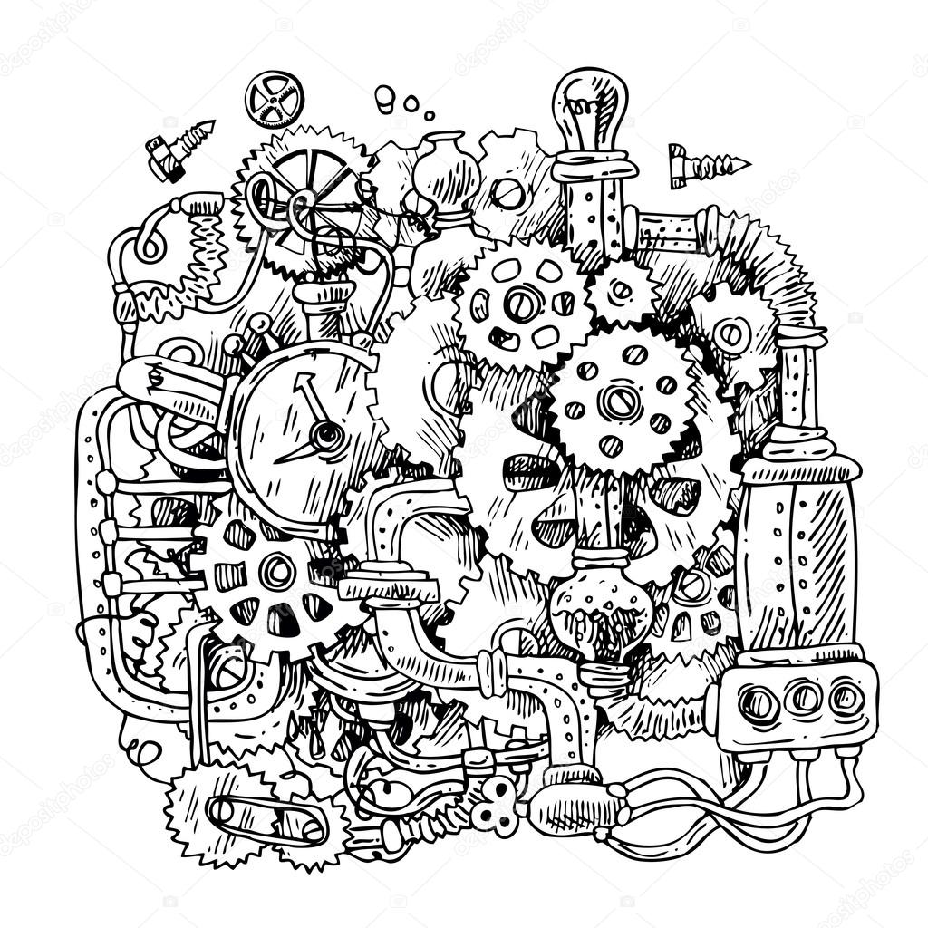 1024x1024 Sketch Steampunk Mechanism Stock Vector Margarita 87
