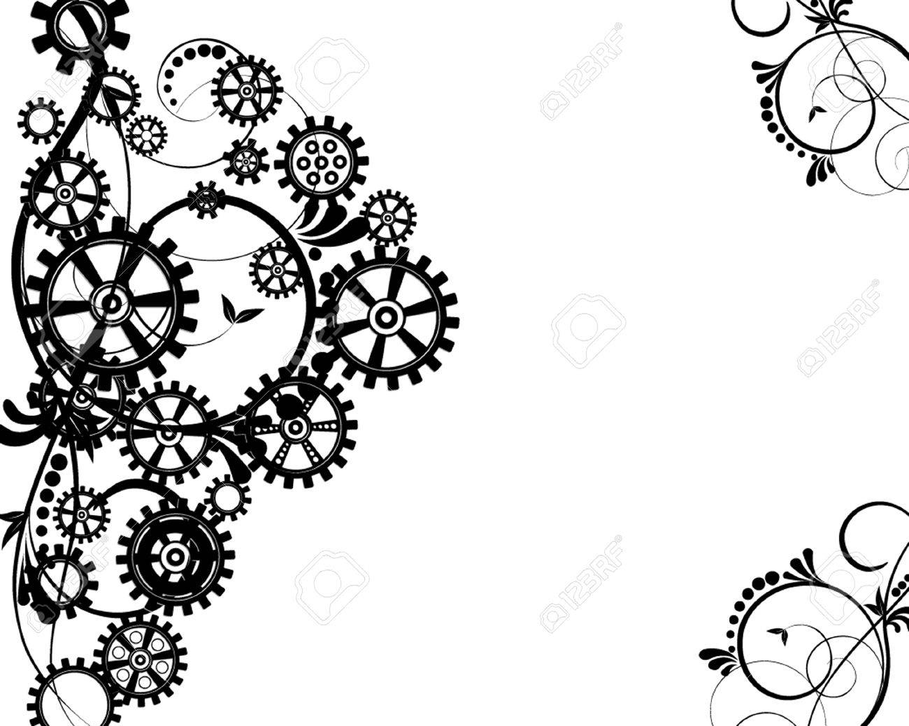 1300x1039 Abstract Mechanical Background With Floral Elements, Vector