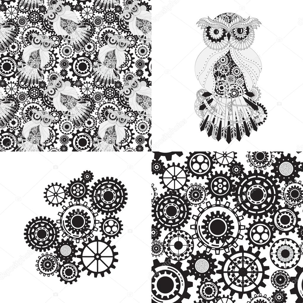 1024x1024 Black Gears, Steampunk Seamless Pattern. Steampunk Outline Vector