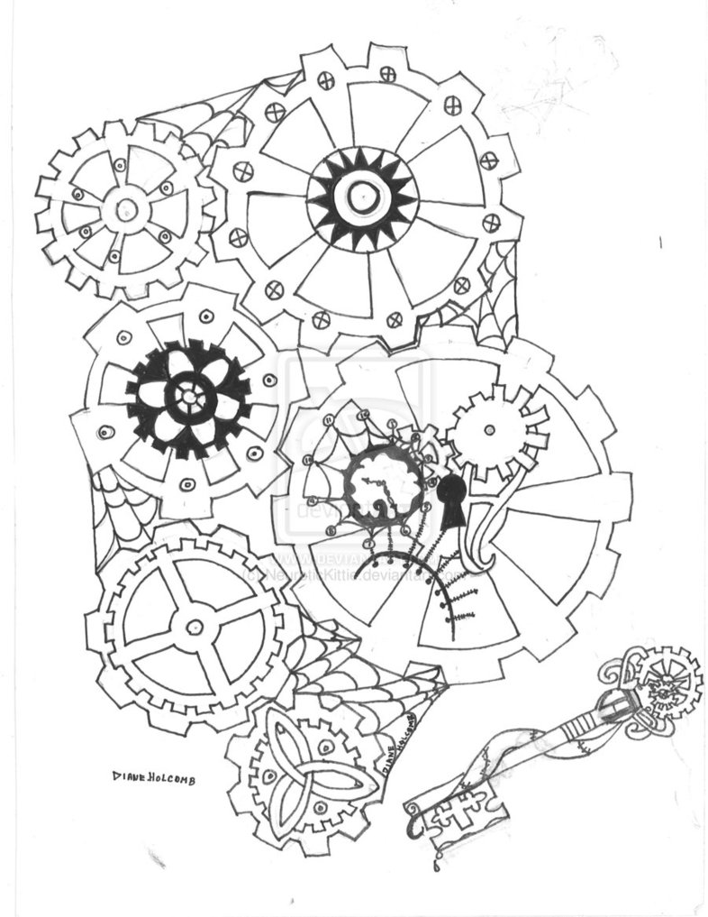 786x1017 Printable Steampunk Gears And Cogs Drawings