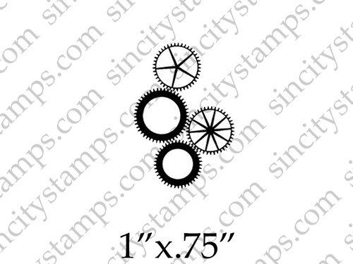 500x375 Small Cogs Amp Gears Steampunk Art Rubber Stamp