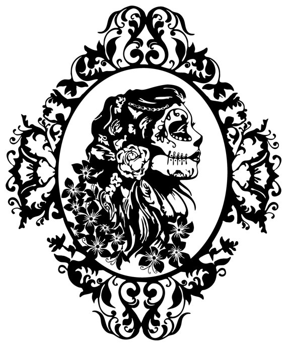570x687 Steampunk Girl Decal Sticker Wall Art Gears Cogs