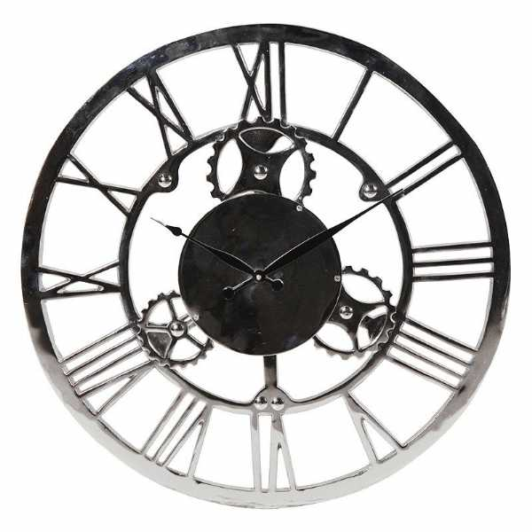 600x600 Steampunk Large Round Nickel Finish Open Gears Cogs Wall Clock