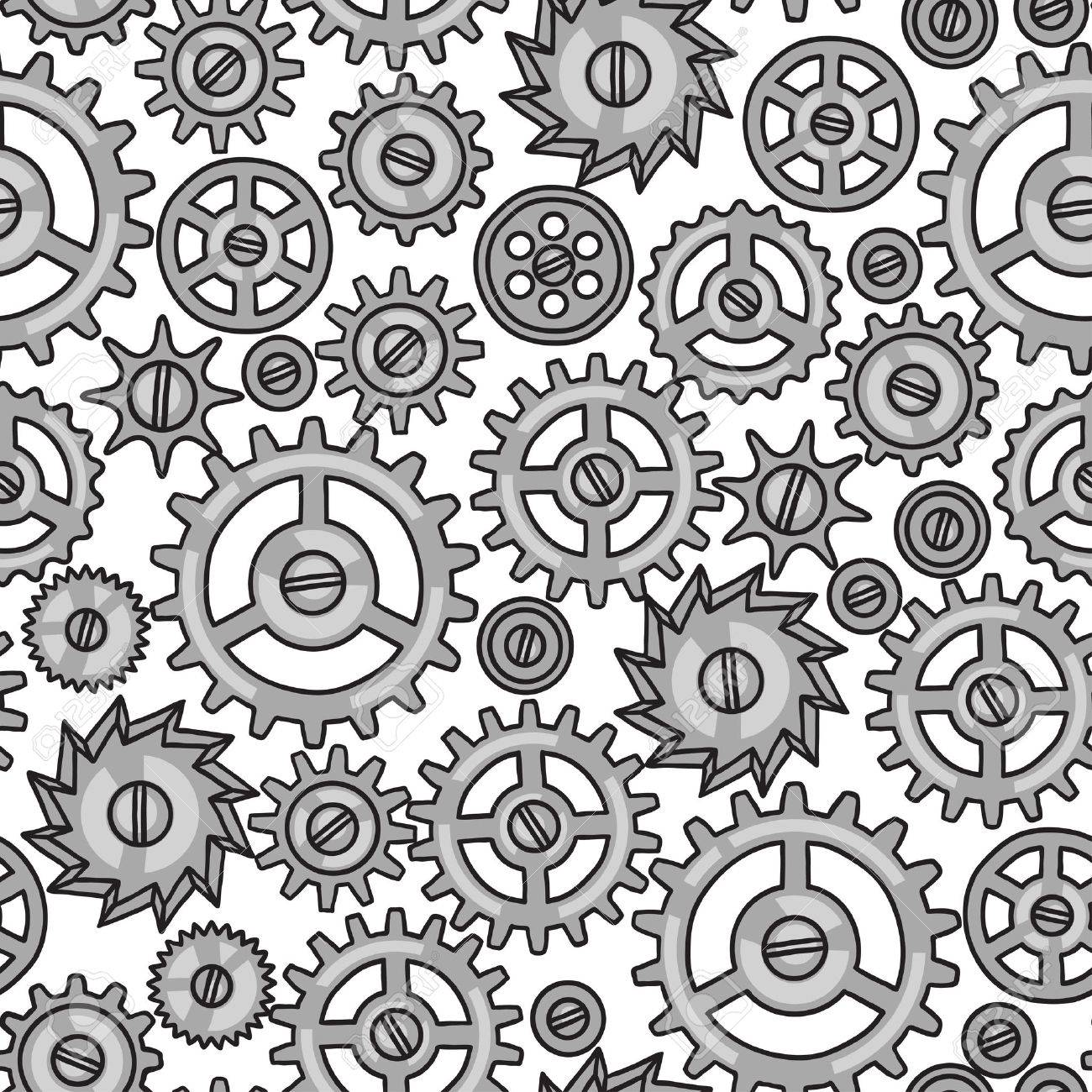 1300x1300 Steampunk Seamless Pattern Of Metal Gears In Doodle Style. Royalty